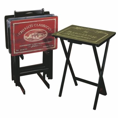 Wines of the World Wine Label TV Tray Table with Stand