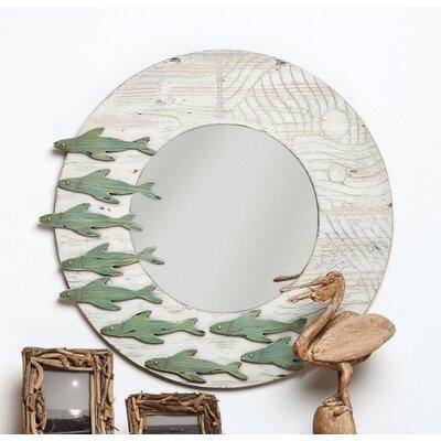 School Of Fish Wooden Framed Wall Mirror