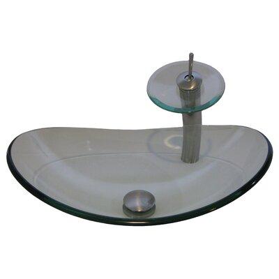 Chiaro Glass Slipper Oval Vessel Bathroom Sink Sink Finish: Clear