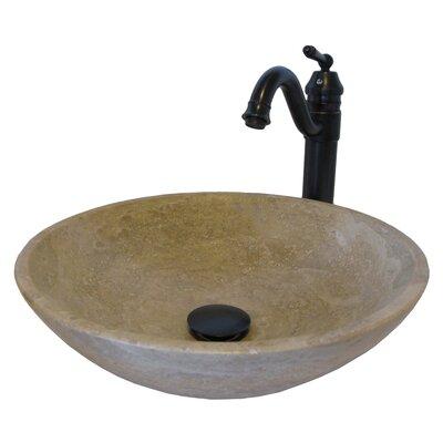 Beige Travertine Stone Circular Vessel Bathroom Sink