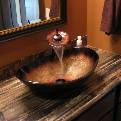 Sanguinello Glass Oval Vessel Bathroom Sink
