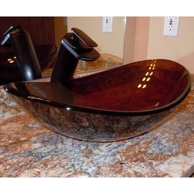 Babbuccia Glass Oval Vessel Bathroom Sink