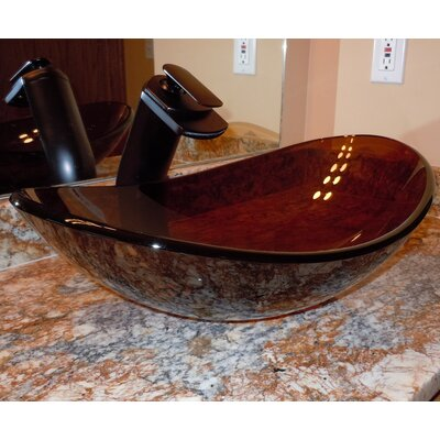 Babbuccia Glass Oval Vessel Bathroom Sink