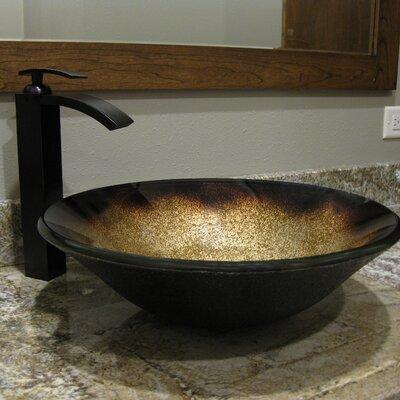 Sanguinello Glass Circular Vessel Bathroom Sink
