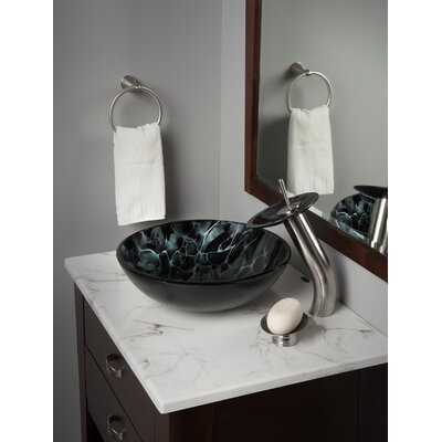 Vivido Glass Circular Vessel Bathroom Sink with Faucet Faucet Finish: Brushed Nickel