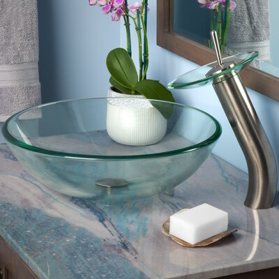 Bonificare Glass Circular Vessel Bathroom Sink Finish: Brushed Nickel