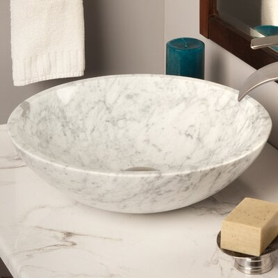 Natural Marble Circular Vessel Bathroom Sink Color: White Tones