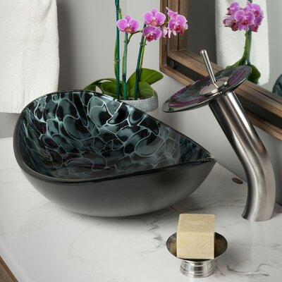 Tartaruga Glass Oval Vessel Bathroom Sink Faucet Finish: Brushed Nickel