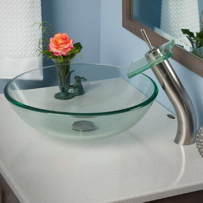 Bonificare Glass Circular Vessel Bathroom Sink Faucet Finish: Brushed Nickel