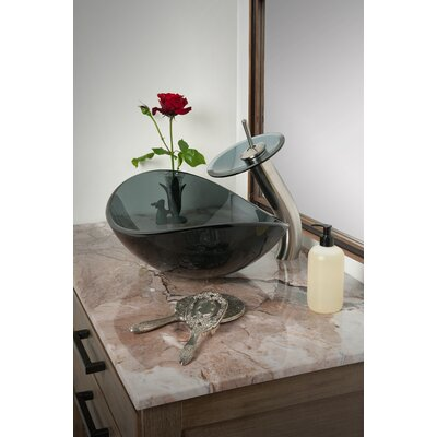Slipper Glass Oval Vessel Bathroom Sink Sink Finish: Grey
