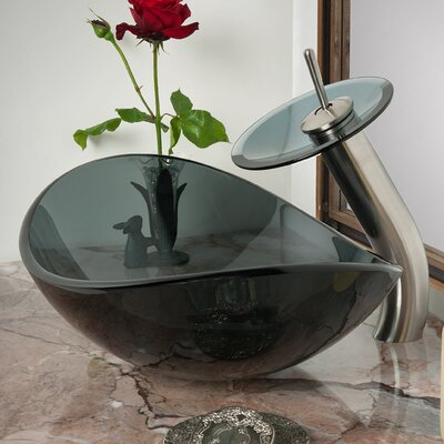 Chiaro Slipper Glass Oval Vessel Bathroom Sink with Faucet Sink Finish: Clear Black