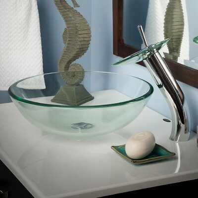 Bonificare Glass Circular Vessel Bathroom Sink with Faucet Finish: Chrome