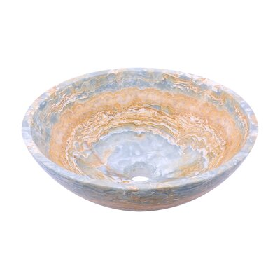 Blue Onyx Stone Circular Vessel Bathroom Sink