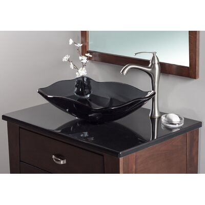 Oblong Glass Rectangular Vessel Bathroom Sink Sink Finish: Grey