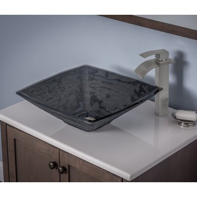 Frosted Glass Square Vessel Bathroom Sink Sink Finish: Grey