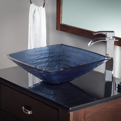 Frosted Glass Square Vessel Bathroom Sink Sink Finish: Dark Blue