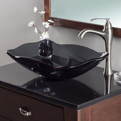 Oblong Glass Rectangular Vessel Bathroom Sink Sink Finish: Grey