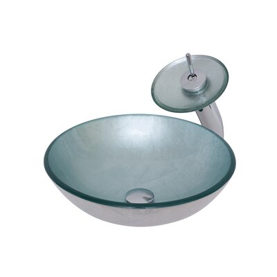 Argento Glass Circular Vessel Bathroom Sink with Faucet Faucet Finish: Chrome