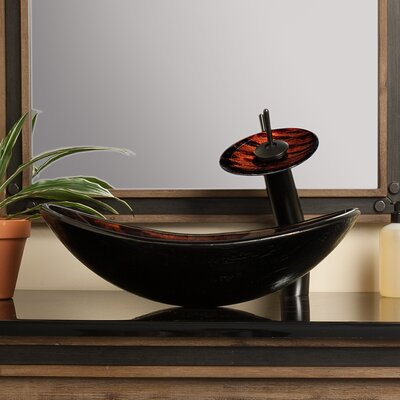 Volle Glass Oval Vessel Bathroom Sink