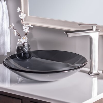 Low Profile Glass Circular Vessel Bathroom Sink Sink Finish: Grey