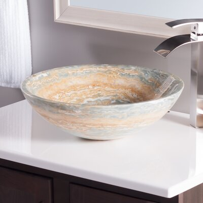 Natural Onyx Circular Vessel Bathroom Sink Sink Finish: Blue Tones