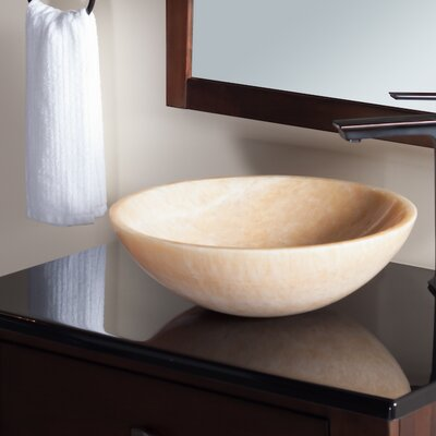 Stone Circular Vessel Bathroom Sink Sink Finish: Honey Tones