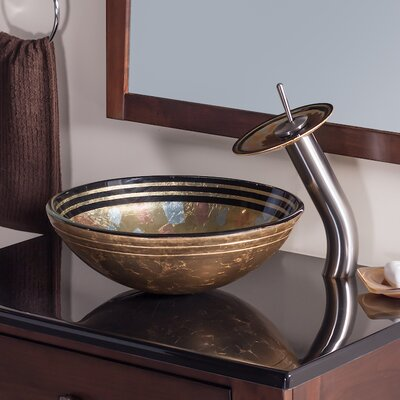 Celebrazione Glass Circular Vessel Bathroom Sink