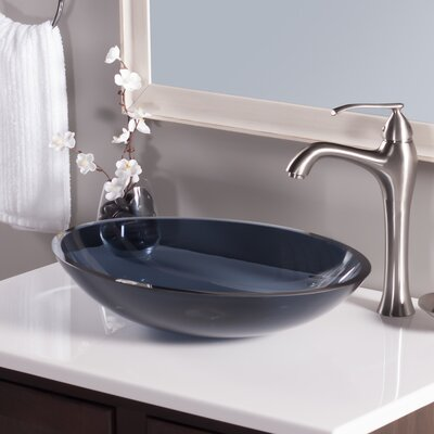 Ovale Glass Oval Vessel Bathroom Sink Sink Finish: Gray