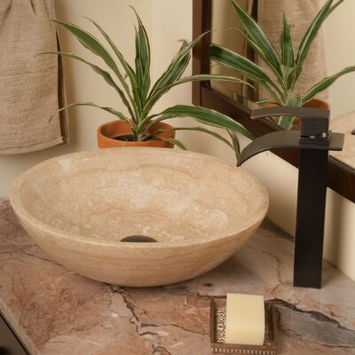 Beige Travertine Stone Circular Vessel Bathroom Sink