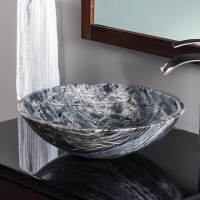 Natural Marble Circular Vessel Bathroom Sink Color: Black Tones