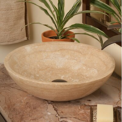 Natural Travertine Circular Vessel Bathroom Sink Sink Finish: Beige Tones