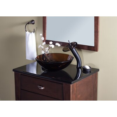 TY Glass Circular Vessel Bathroom Sink with Faucet Faucet Finish: Oil Rubbed Bronze