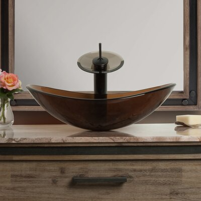 Babbuccia Glass Oval Vessel Bathroom Sink with Faucet