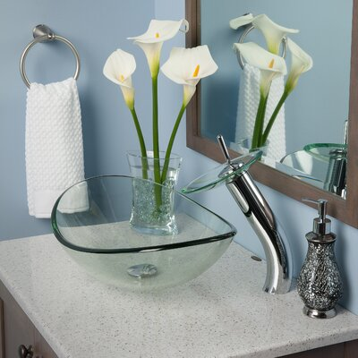 Chiaro Slipper Glass Oval Vessel Bathroom Sink with Faucet Sink Finish: Clear Chrome