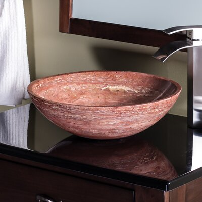 Natural Travertine Stone Circular Vessel Bathroom Sink Sink Finish: Red Tones