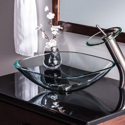Piazza Glass Square Vessel Bathroom Sink