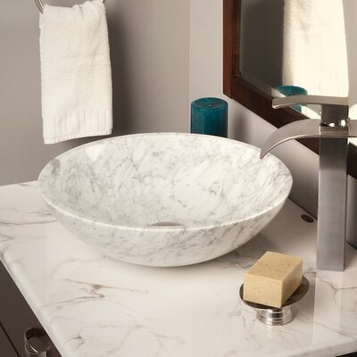 Natural Marble Circular Vessel Bathroom Sink Color: White Tones