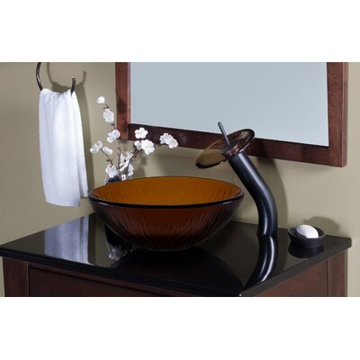 Frosted Glass Circular Vessel Bathroom Sink Sink Finish: Tea