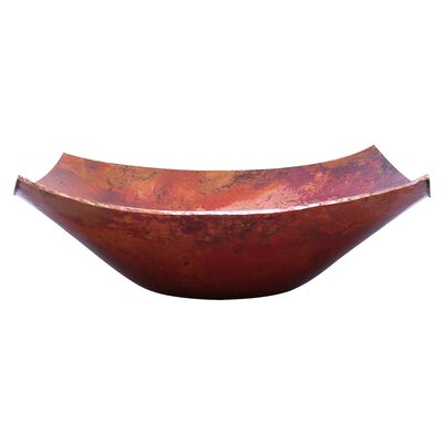 Malaga Copper Square Vessel Bathroom Sink Sink Finish: Natural