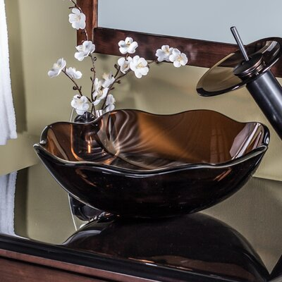Flore Flower Shaped Glass Circular Vessel Bathroom Sink