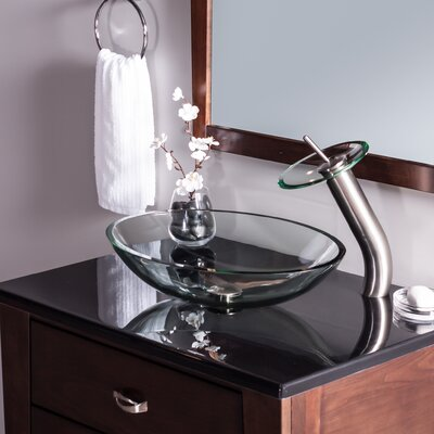 Ovale Glass Oval Vessel Bathroom Sink Sink Finish: Clear