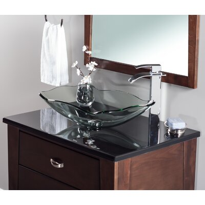Oblong Glass Rectangular Vessel Bathroom Sink Sink Finish: Clear