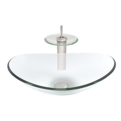 Chiaro Slipper Glass Oval Vessel Bathroom Sink with Faucet Sink Finish: Clear Brushed Nickel