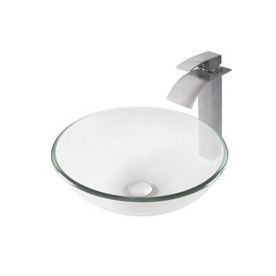 Bonificare Glass Circular Vessel Bathroom Sink with Faucet