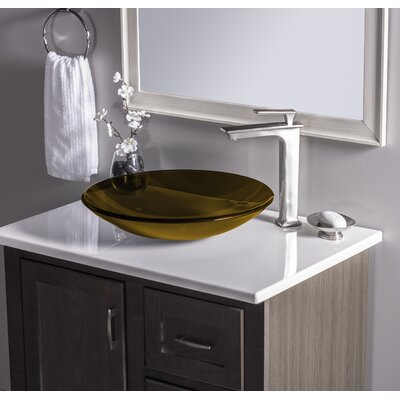 Low Profile Glass Circular Vessel Bathroom Sink Sink Finish: Tea