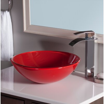 Rosso Double Layer Glass Circular Vessel Bathroom Sink