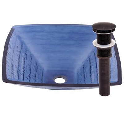 Fresco Glass Circular Vessel Bathroom Sink Sink Finish: Frosted Blue / Oil Rubbed Bronze
