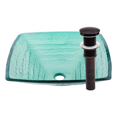 Fresco Glass Circular Vessel Bathroom Sink Sink Finish: Frosted Green / Oil Rubbed Bronze