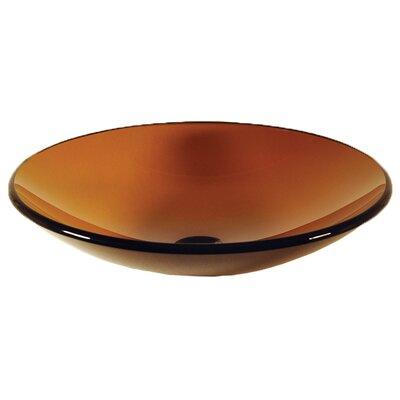 Low Profile Glass Circular Vessel Bathroom Sink Sink Finish: Tea