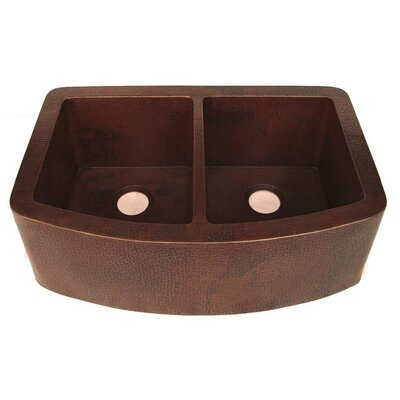 33 x 22 Redondeado Curved Double Bowl Kitchen Sink
